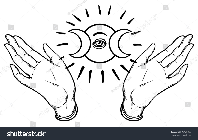 Female hands open around masonic symbol stock vector 592428926 female hands open around masonic symbol new world order hand drawn alchemy biocorpaavc Gallery