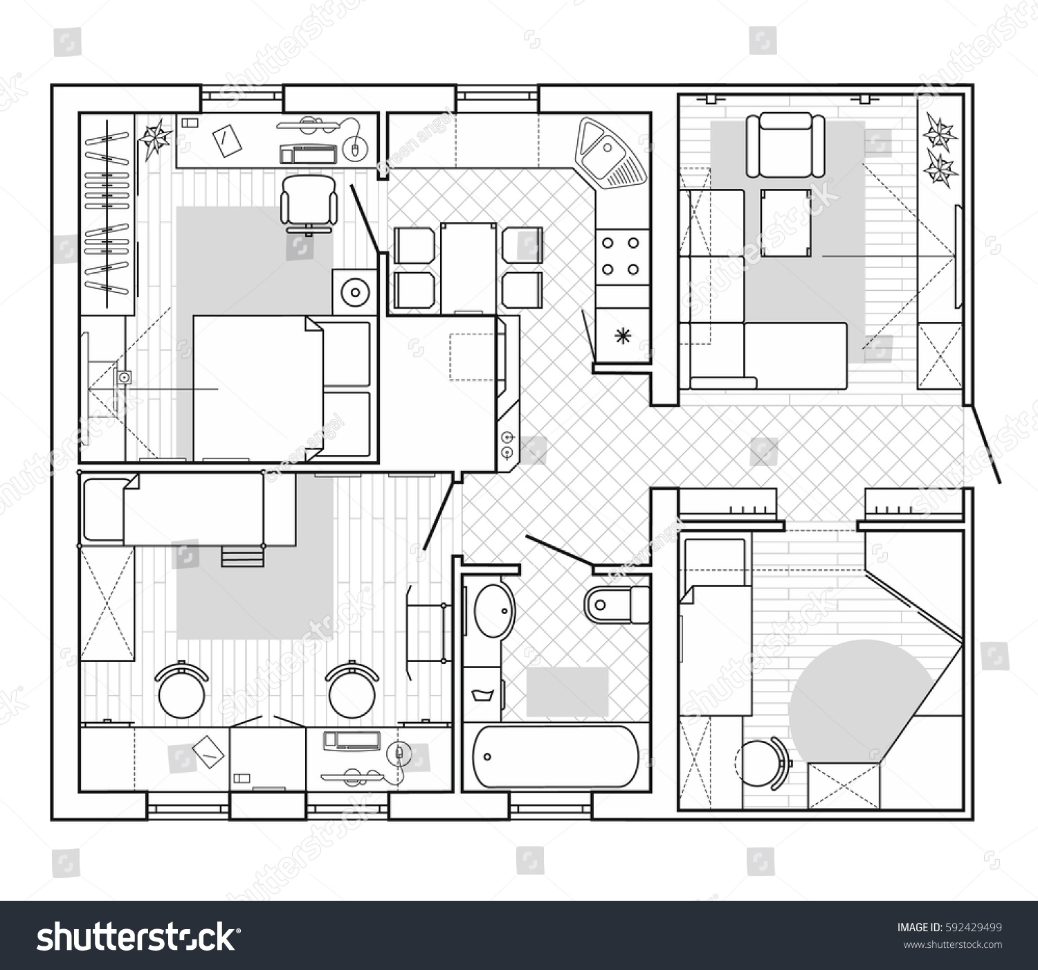 Black white architectural plan house layout stock vector for Interior house designs black and white