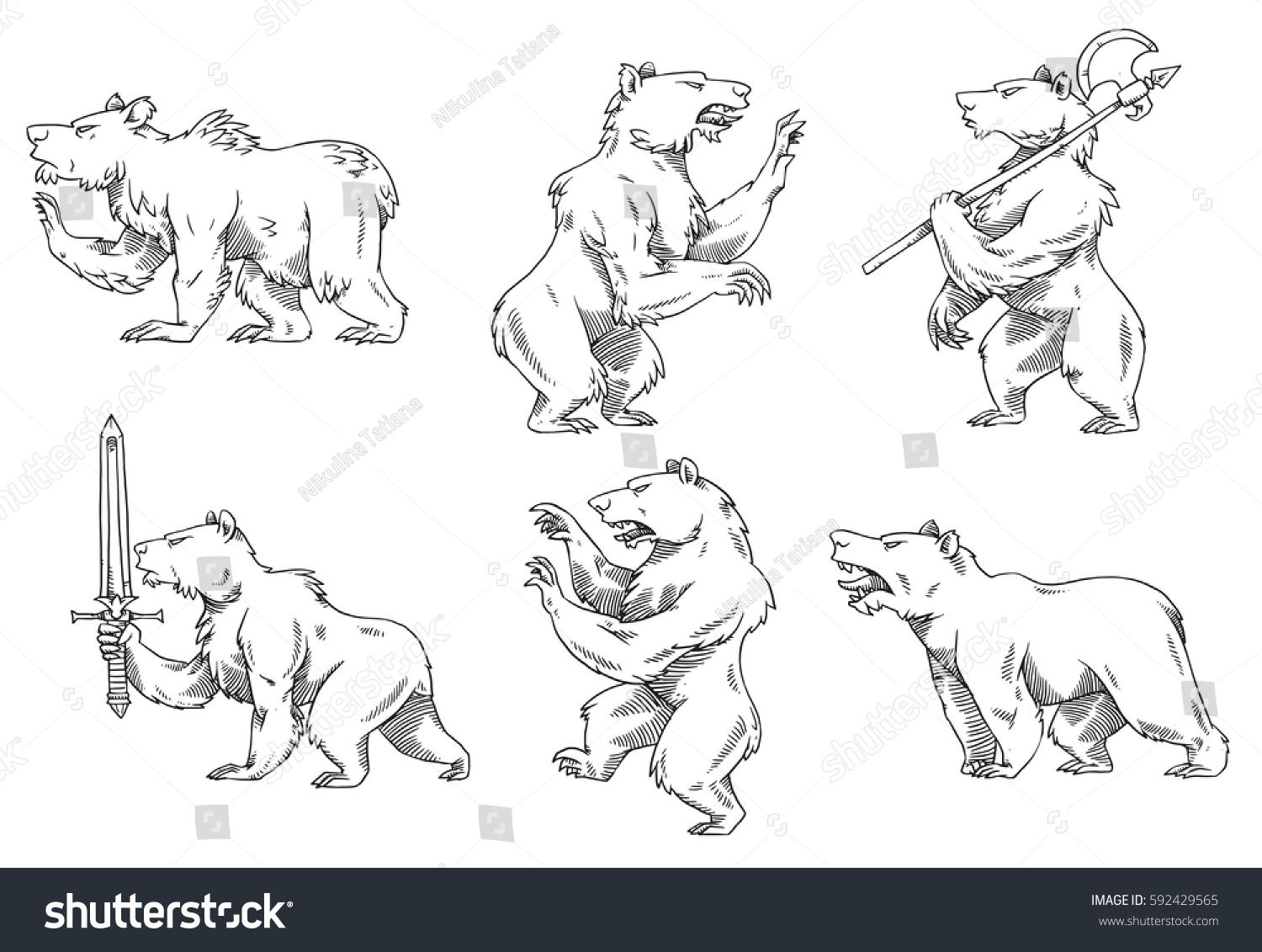 How to breed heraldic dragon - Vector Set Of Images Of Heraldic Bears In Different Poses With Different Weapons On A White
