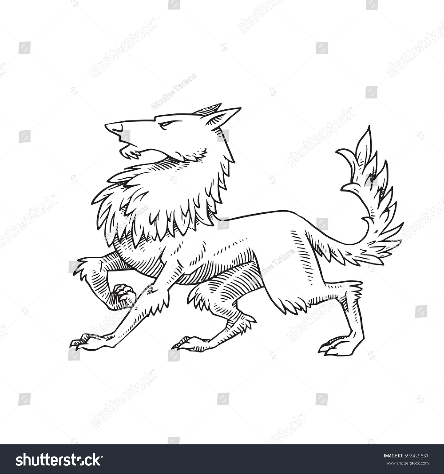 How to breed heraldic dragon - Vector Image Of A Heraldic Formidable Wolf Standing Turn Left On A White Background Coat