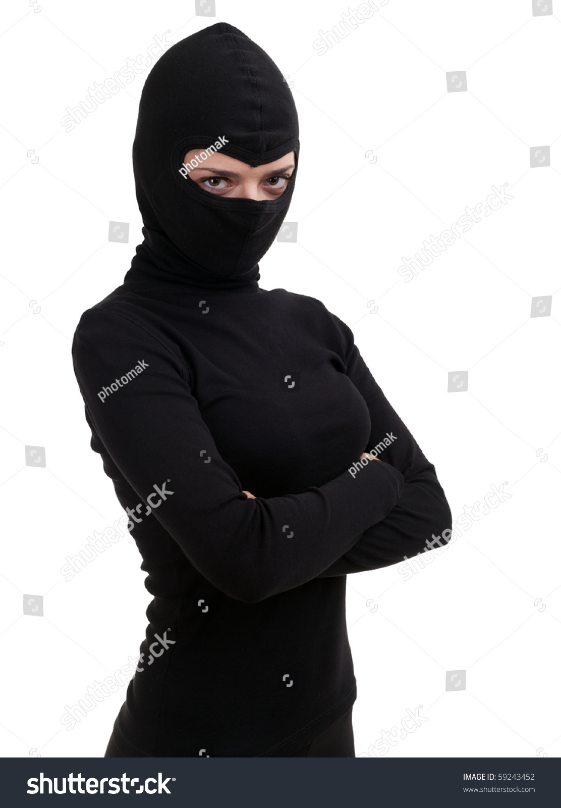 female thief in black clothes and balaclava stock photo 59243452   shutterstock