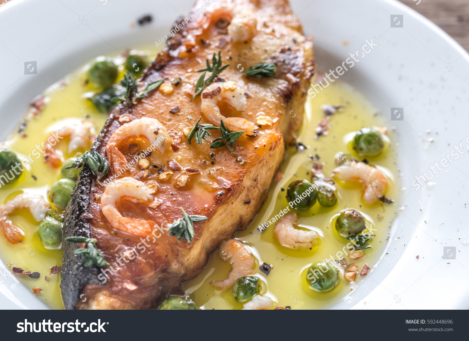 Fried fish shrimp peas stock photo 592448696 shutterstock for Fried fish and shrimp