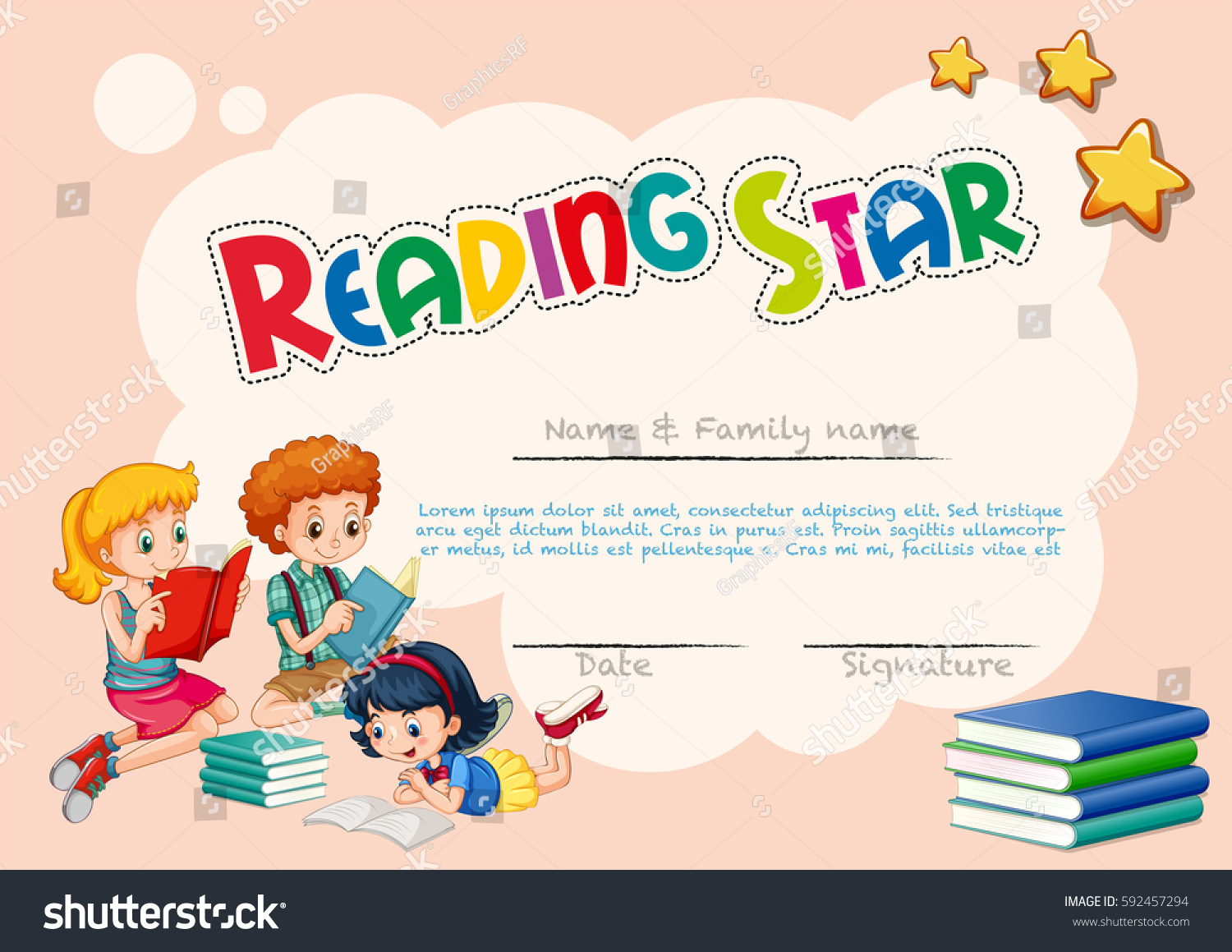 Royalty free certificate template for reading star 592457294 certificate template for reading star with pink background illustration 592457294 alramifo Images