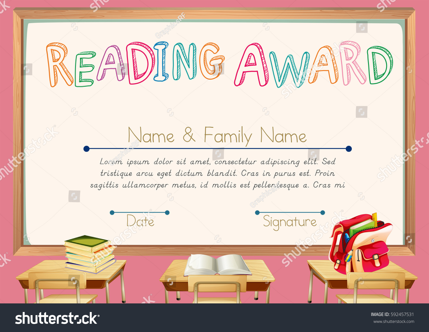 Certificate template reading award illustration stock vector certificate template for reading award illustration alramifo Images