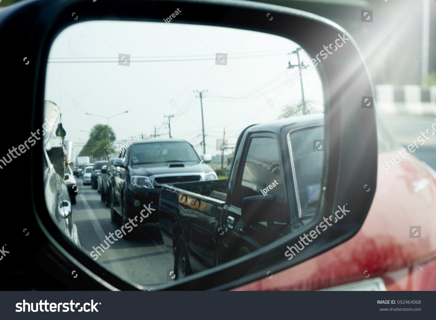 inside car on side view mirror stock photo 592464068 shutterstock. Black Bedroom Furniture Sets. Home Design Ideas