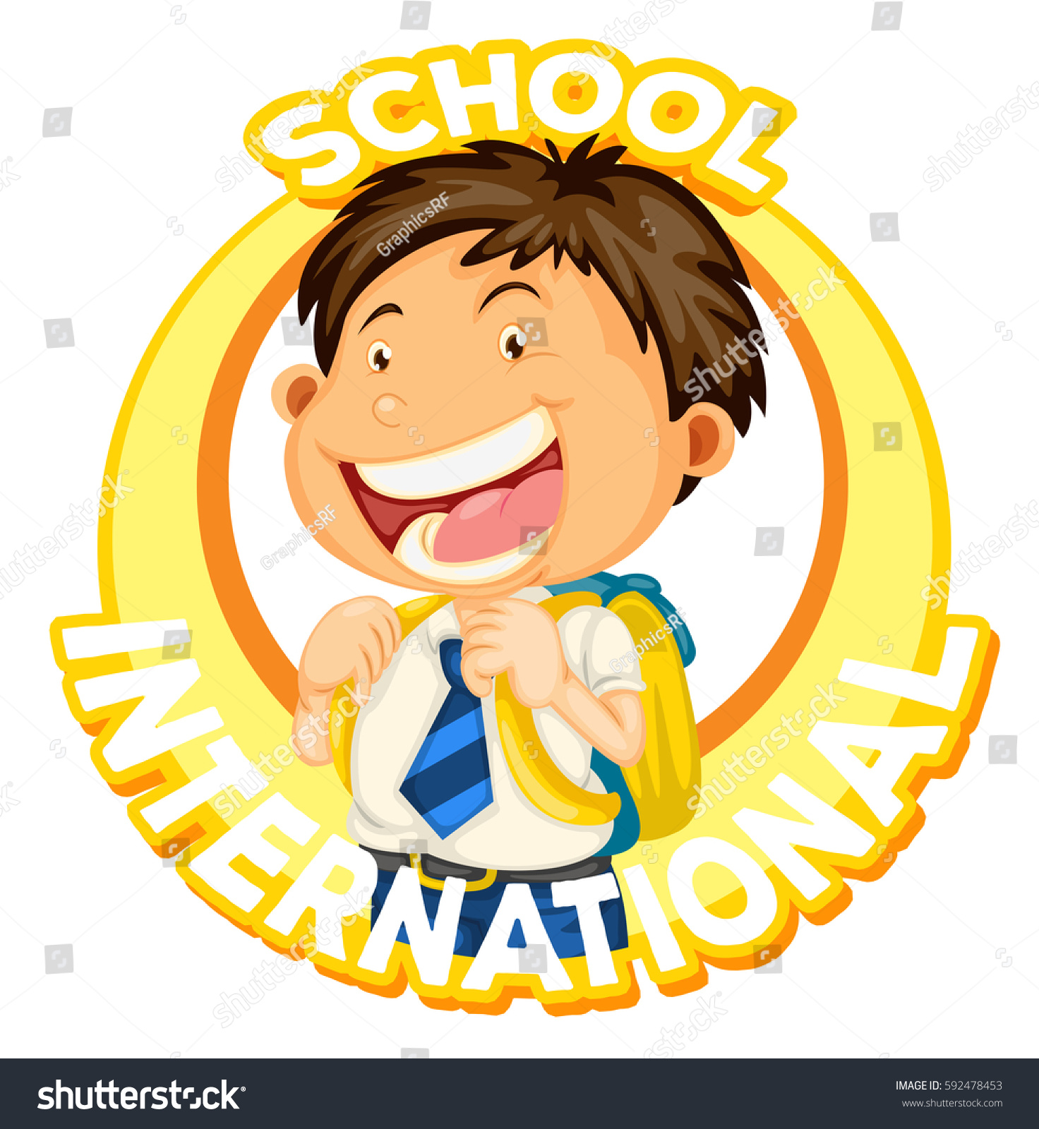 boy student on school logo design stock vector (royalty free