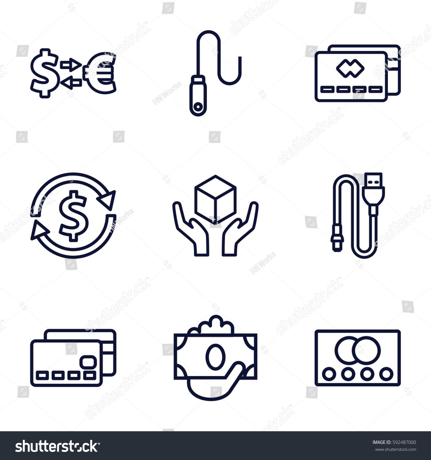 Transfer Icons Set 9 Stock Vector Royalty Free Wiring Money Without Id Of Outline Such As Credit Card Handle