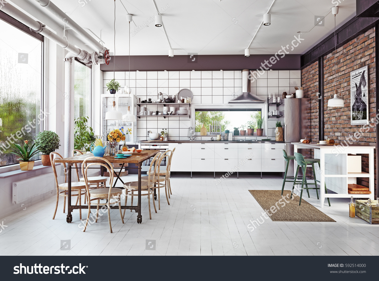Modern loft kitchen interior d rendering stockillustration
