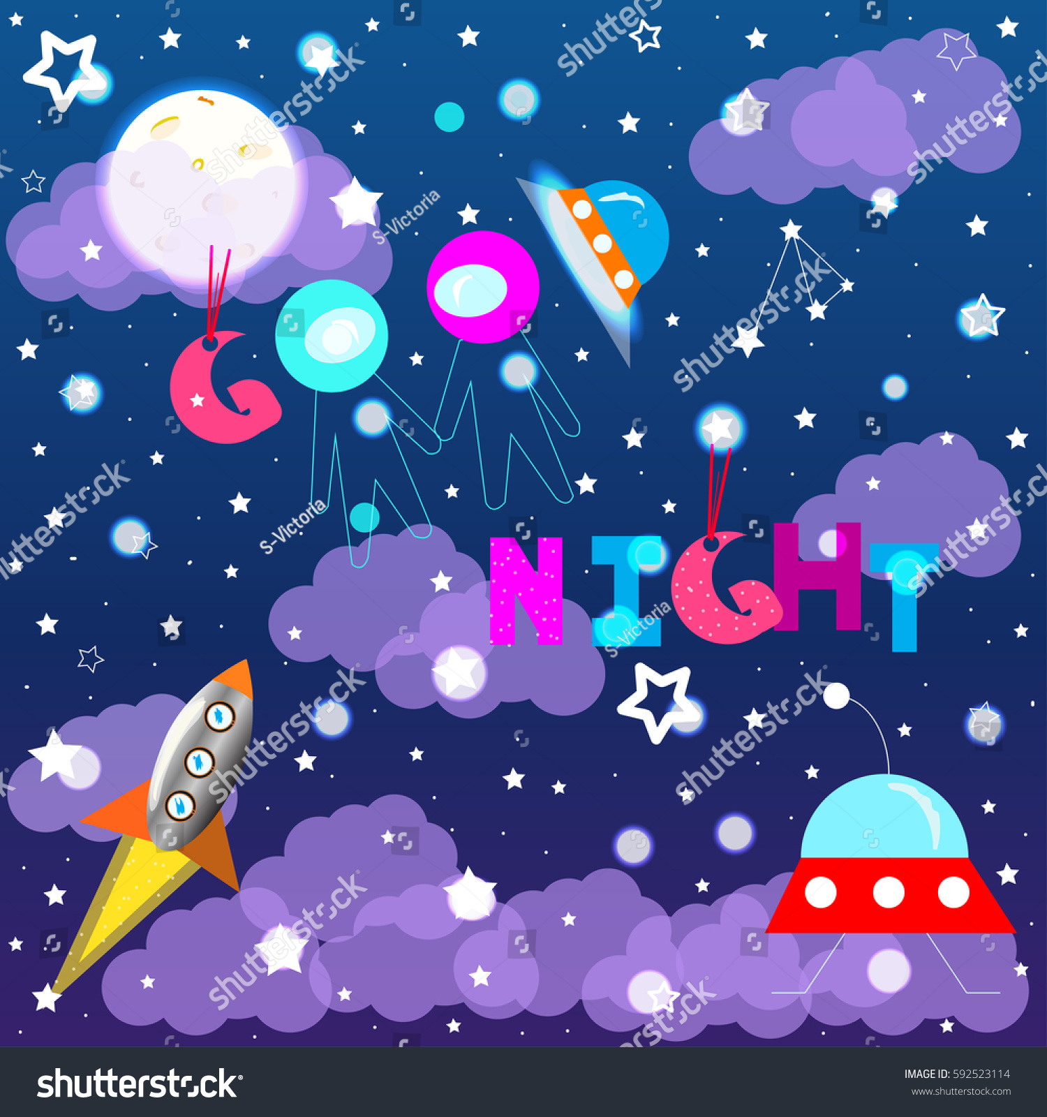 Good Night Colorful Kids Vector Illustration Stock Vector 592523114 ...
