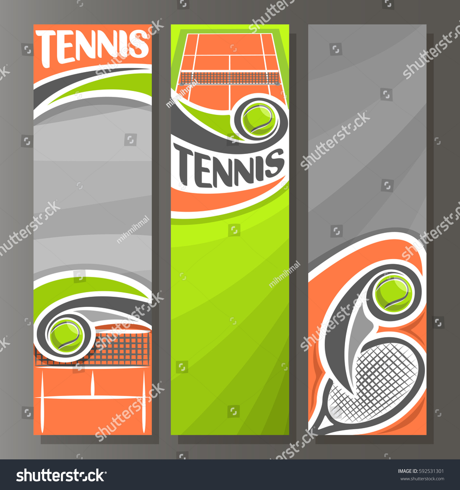 vector vertical banners tennis 3 template stock vector 592531301