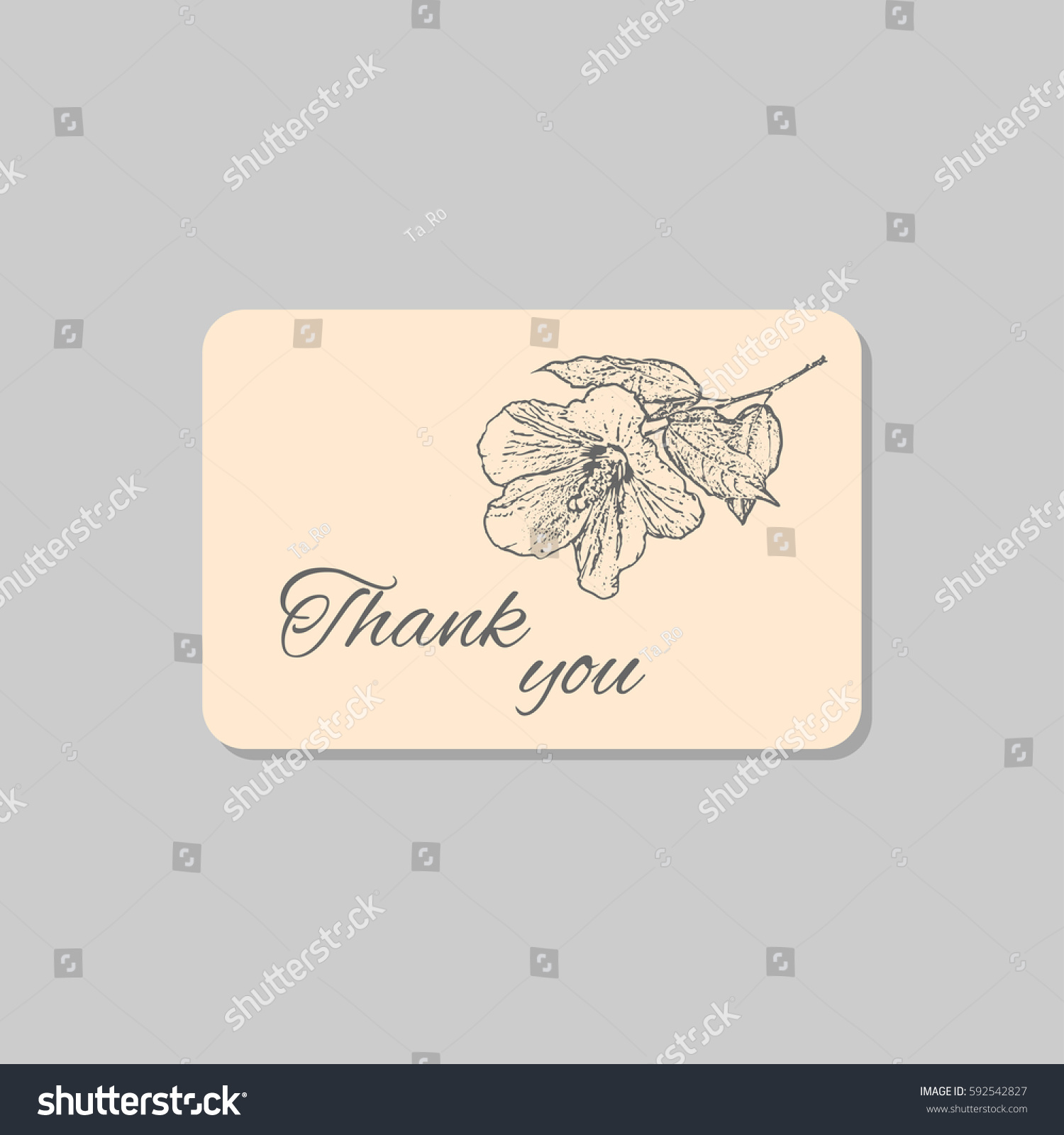 thank you card hawaii hibiscus flower stock vector 592542827 shutterstock. Black Bedroom Furniture Sets. Home Design Ideas