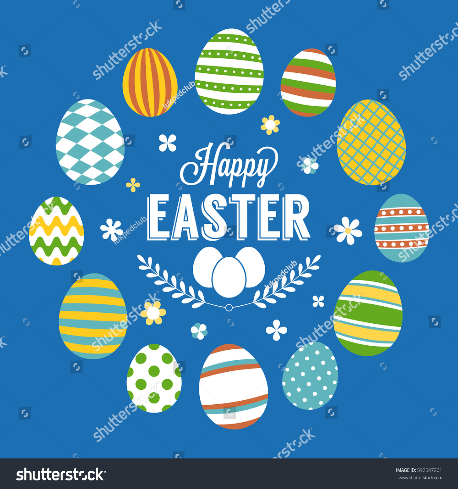 Happy Easter Typographic Poster Circle Eggs Stock