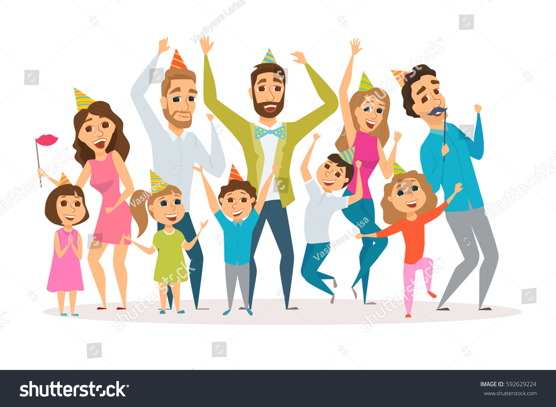 Für Kids Mütter Und Die Großen: Big Family Birthday Party Kids Parents Stock Vector