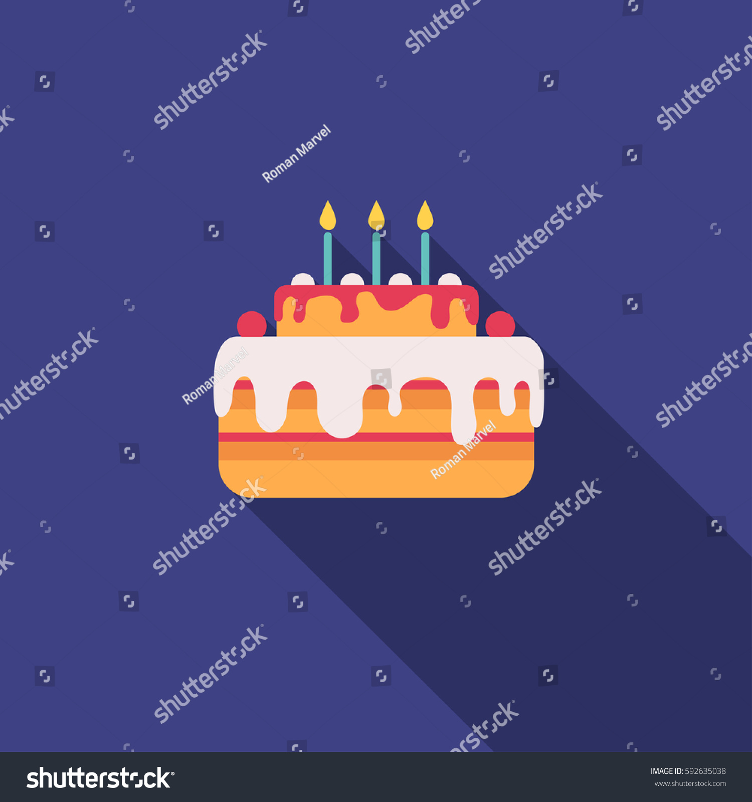 Cake Pie Birthday Candles Blue Stock Vector 592635038 Shutterstock