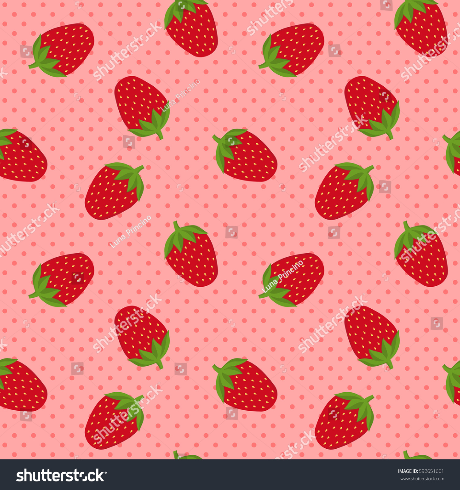 seamless pattern strawberries on coral pink stock vector