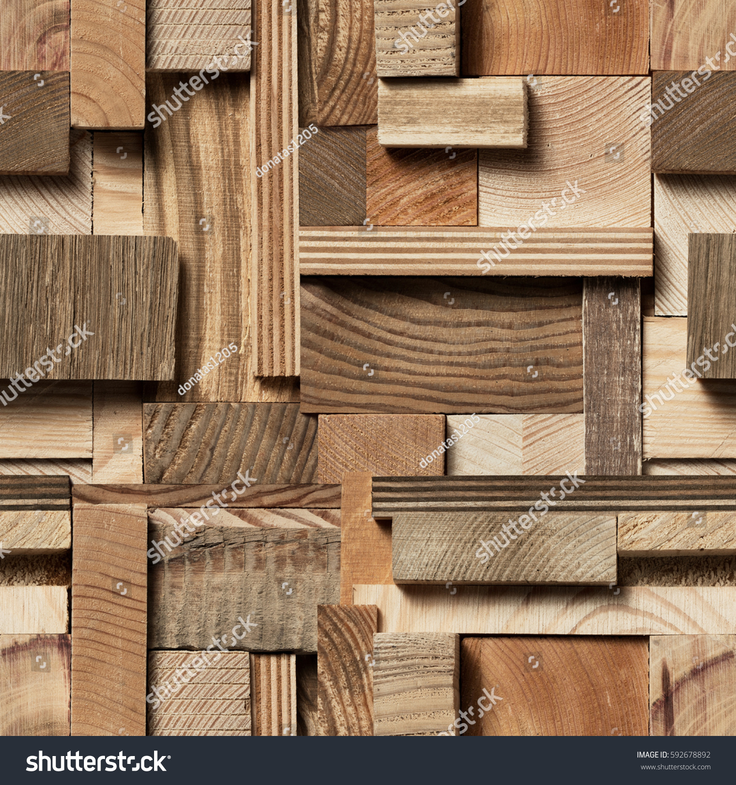 Seamless Texture Wooden Blocks Collage Background Stock