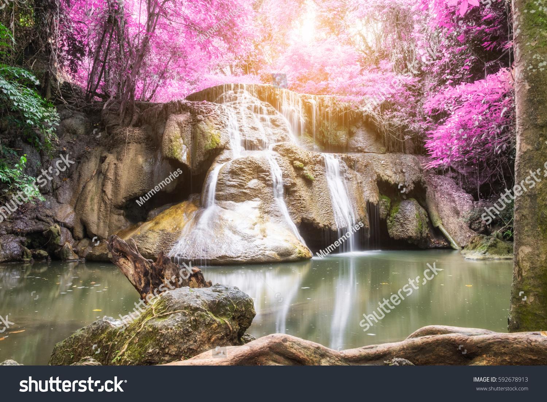 Waterfall Tropical Rainforest Colorful Huai Mae Stock