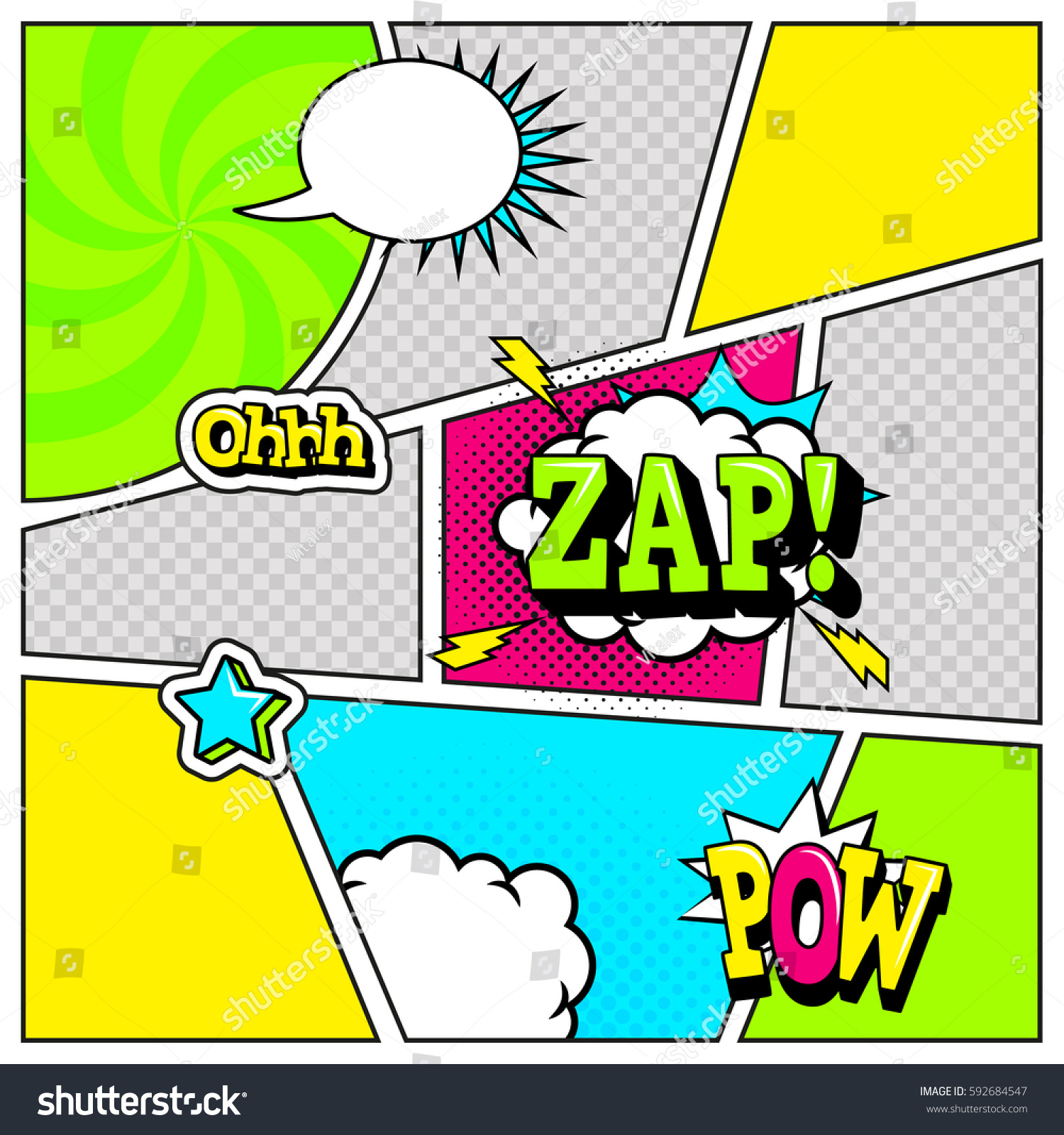 Comic Book Page Template Pop Art Stock Vector Royalty Free