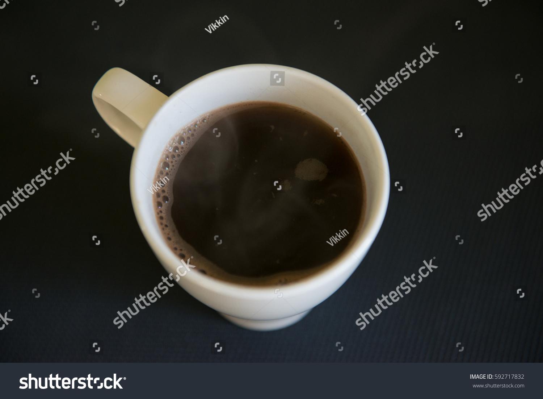 White Ceramic Coffee Mug On Black Stock Photo 592717832