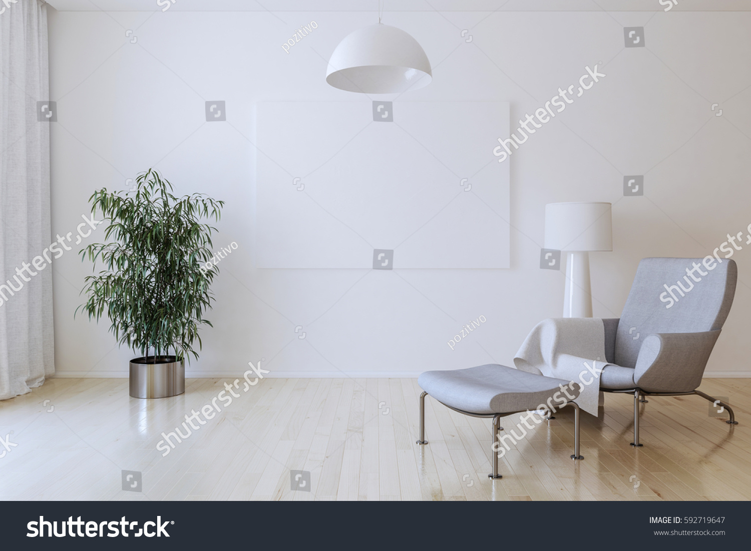 White Canvas On Wall Living Room Stock Illustration 592719647 ...