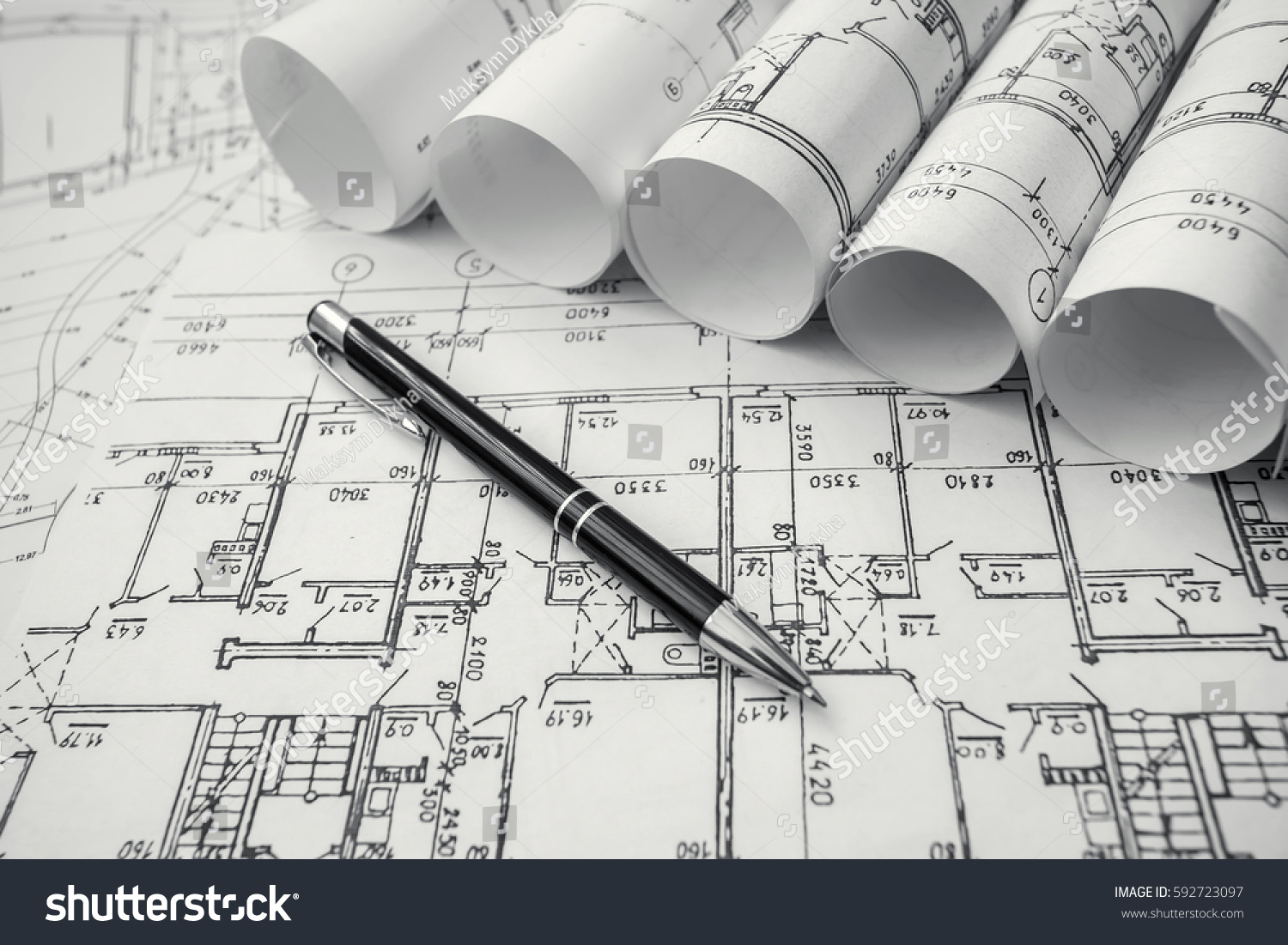 Architect Workplace Architectural Project Blueprints Blueprint Stock ...