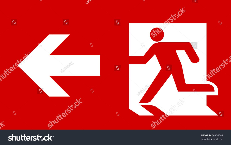Symbol Fire Emergency Exit Sign Arrow Stock Illustration 59276203
