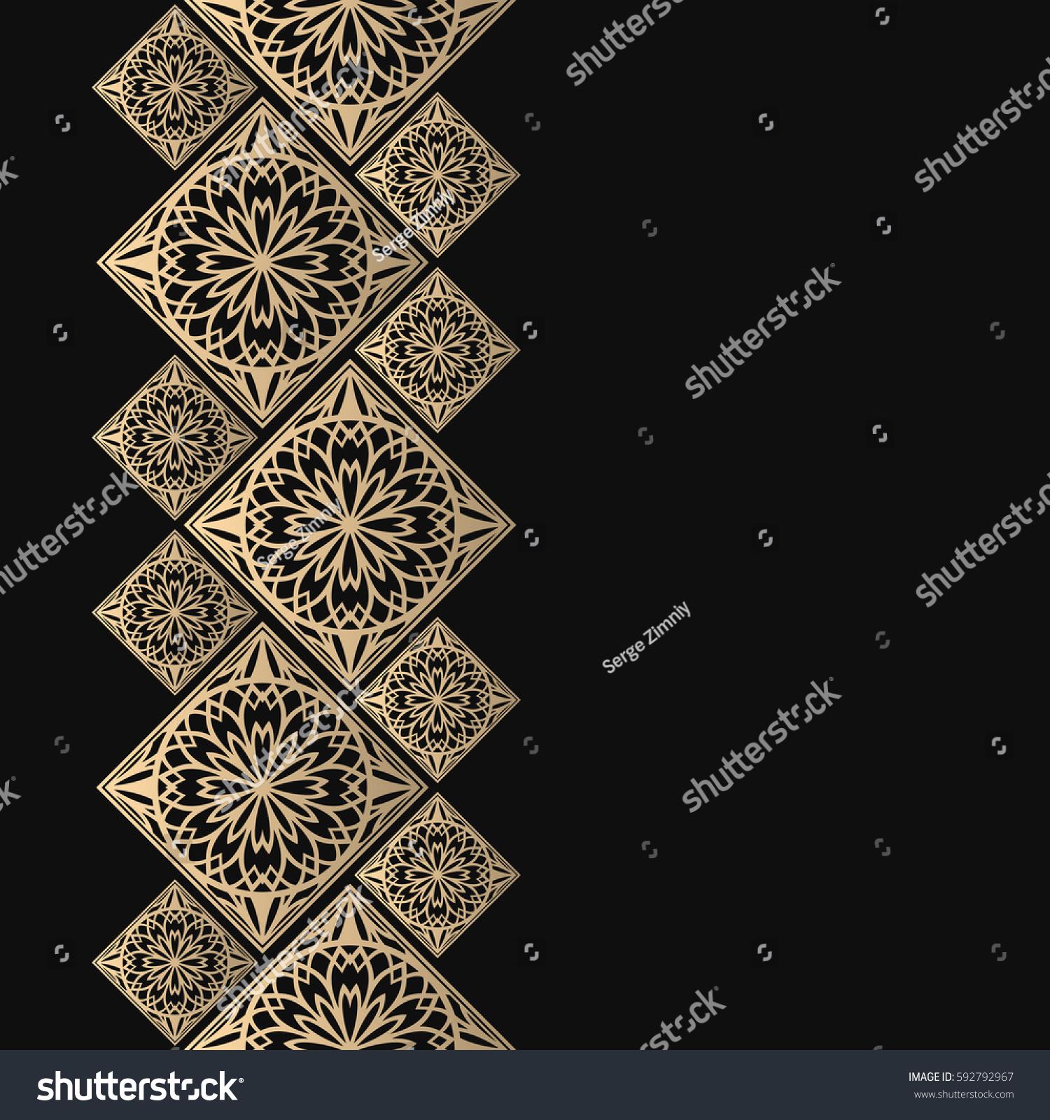 Golden Frame Oriental Style Seamless Border Stock Photo (Photo ...