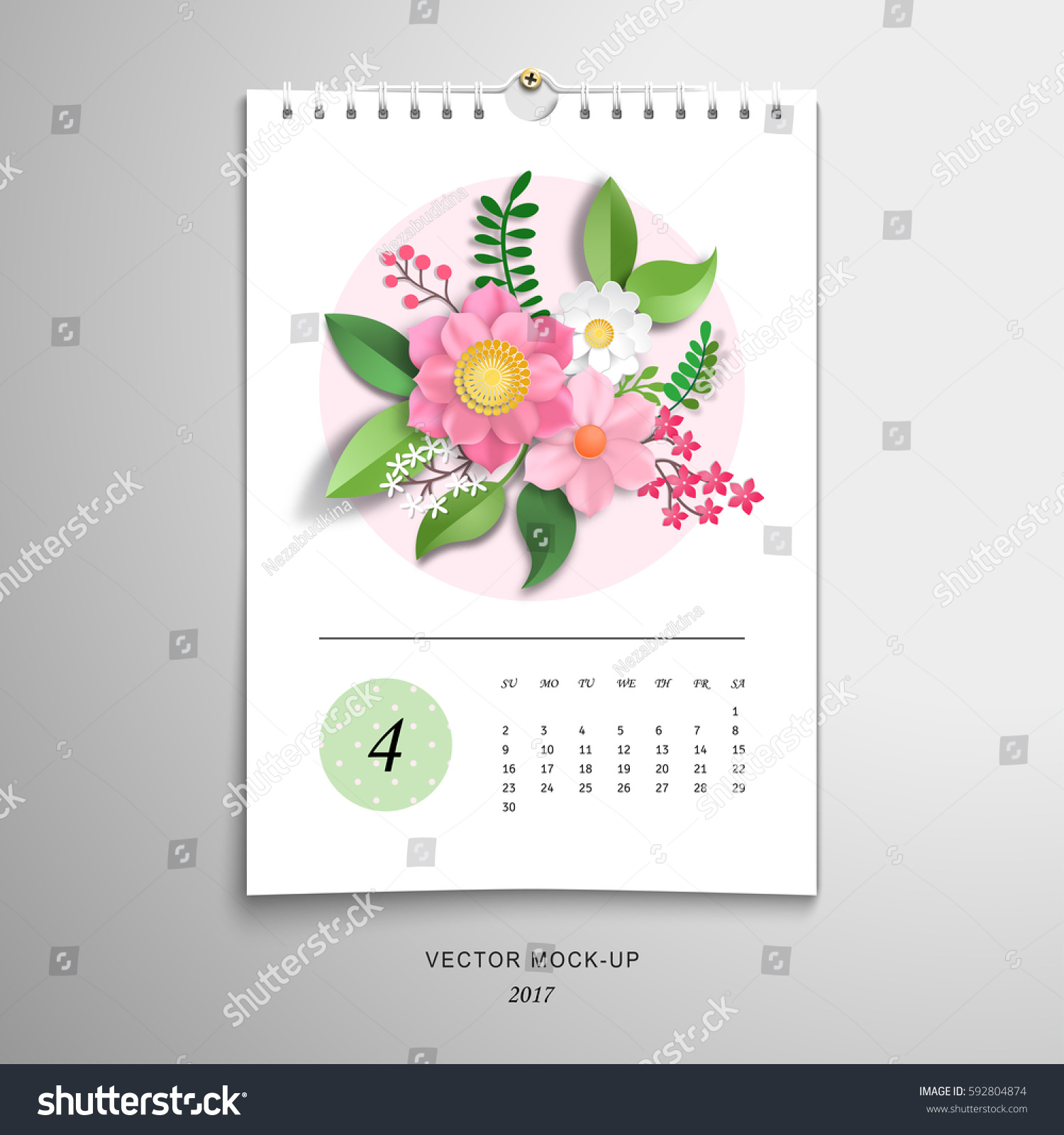 Spiral Calendar April 3 D Paper Flowers Stock Vector 592804874