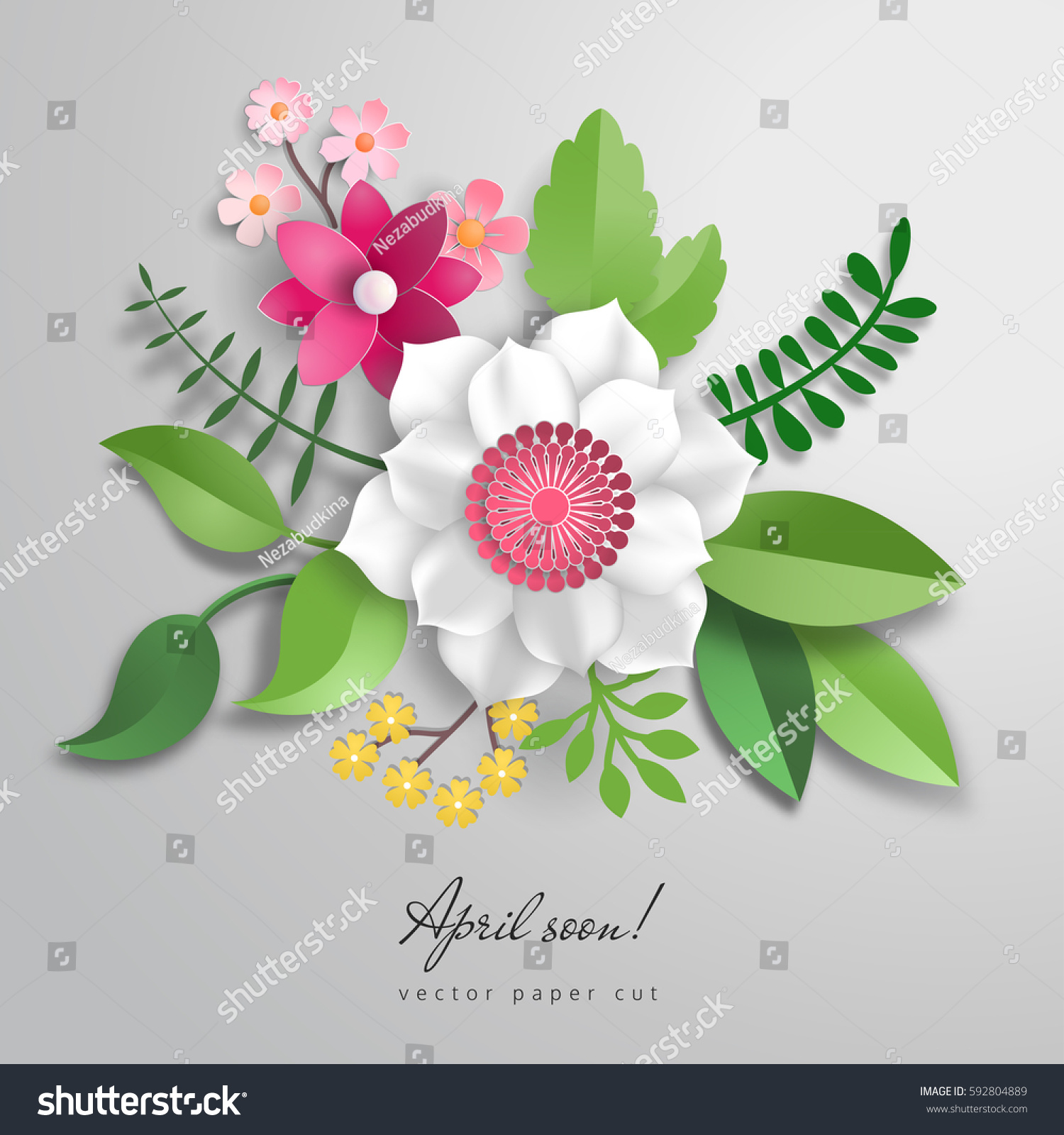 3 D Vector Bouquet Paper Flowers Paper Stock Vector Royalty Free