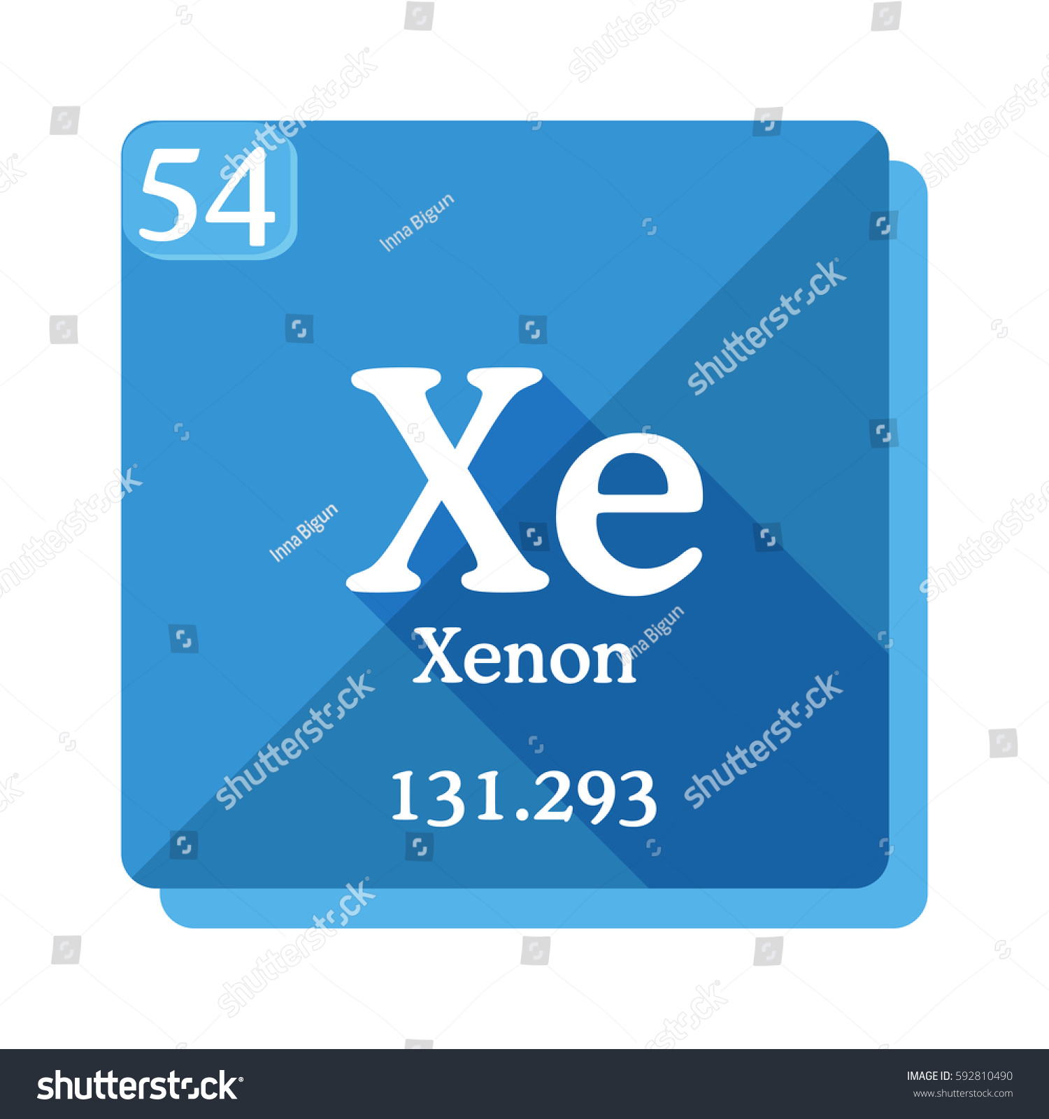 Xenon xe element periodic table vector stock vector 592810490 xenon xe element of the periodic table vector illustration in flat style gamestrikefo Choice Image