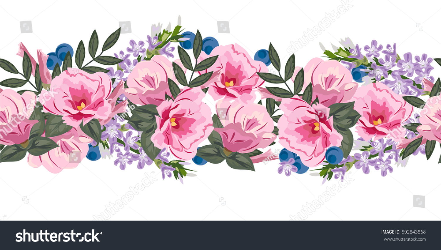 Seamless Floral Border Cute Pink Flowers Stock Vector Royalty Free