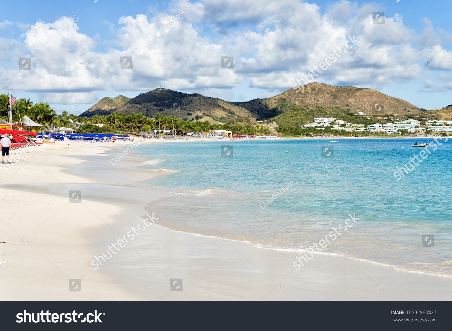 ORIENT BEACH, SAINT MARTIN, CARIBBEAN - JANUARY 21, 2017: The Orient Beach is a popular tourist destination on the Island of Saint Martin. It is lined with restaurants, shops and water activities.