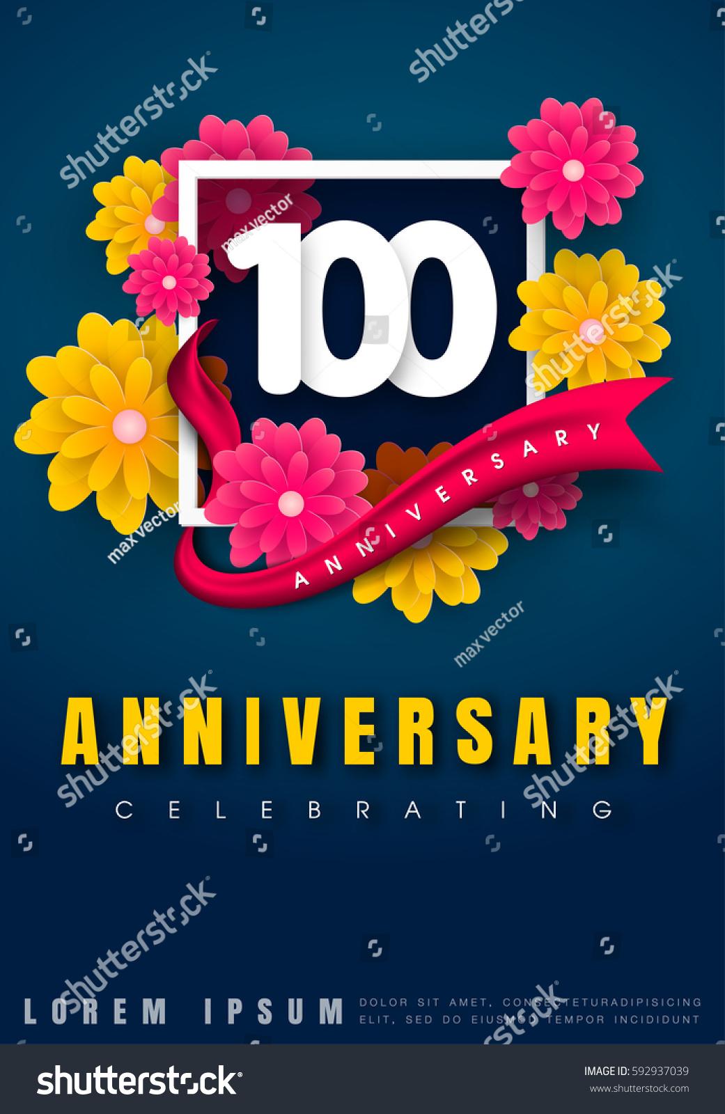 100 Years Anniversary Invitation Card Celebration Stock Vector (Royalty  Free) 592937039