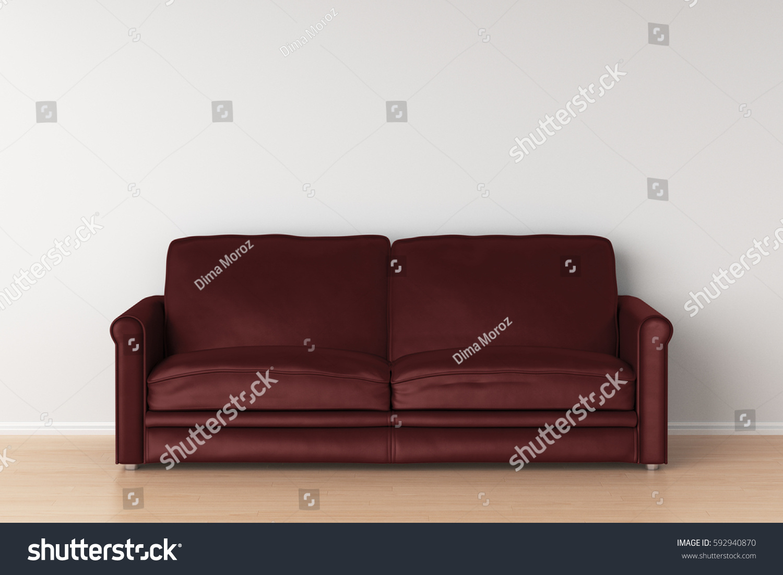 Dark Red Leather Sofa Interior 3 D Stock Illustration ...