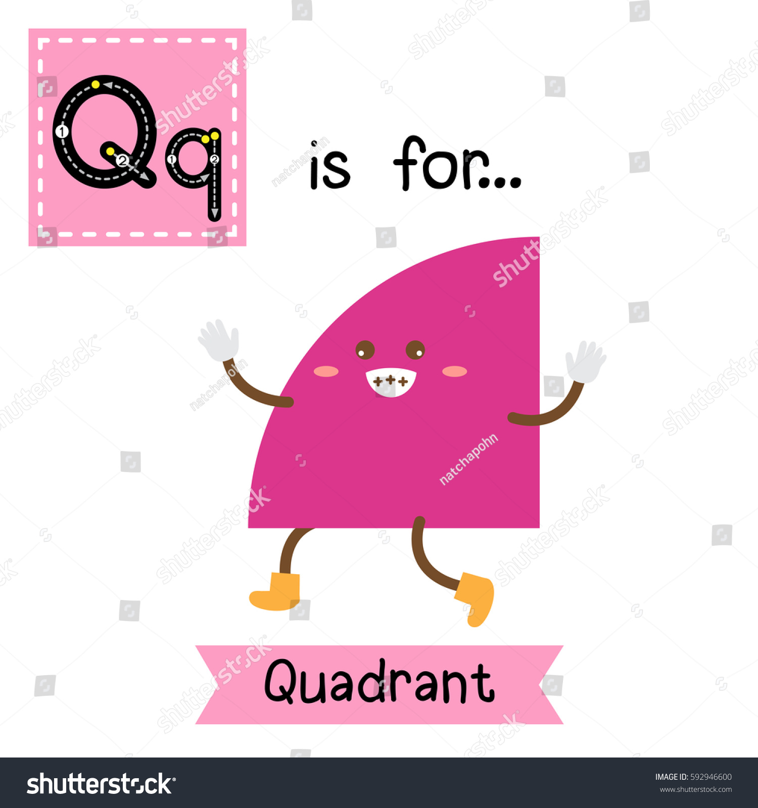 letter q cute children colorful geometric stock vector 592946600