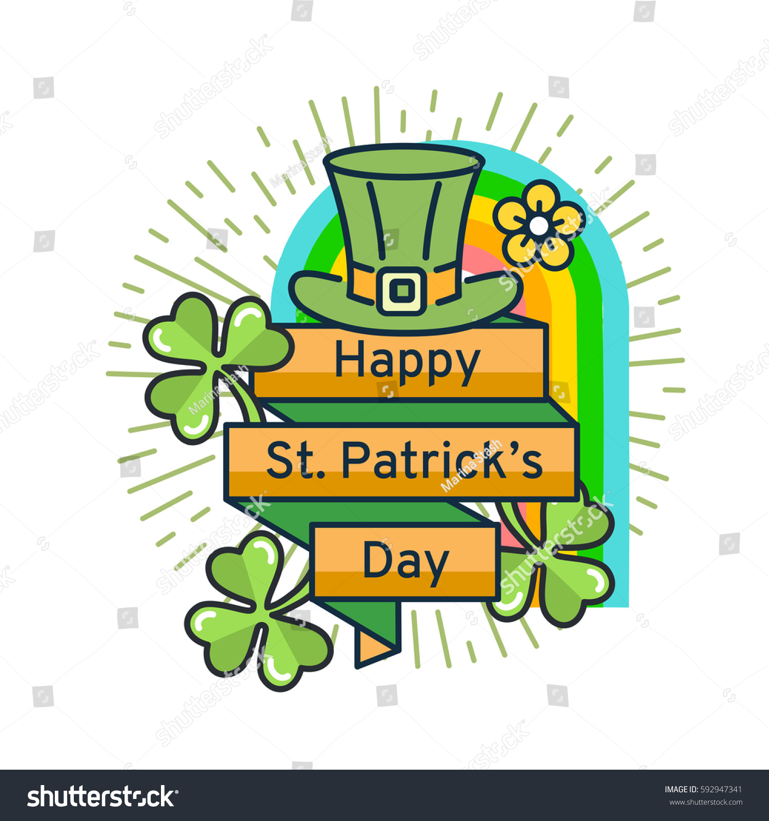 st patricks day flat line greeting stock vector royalty free