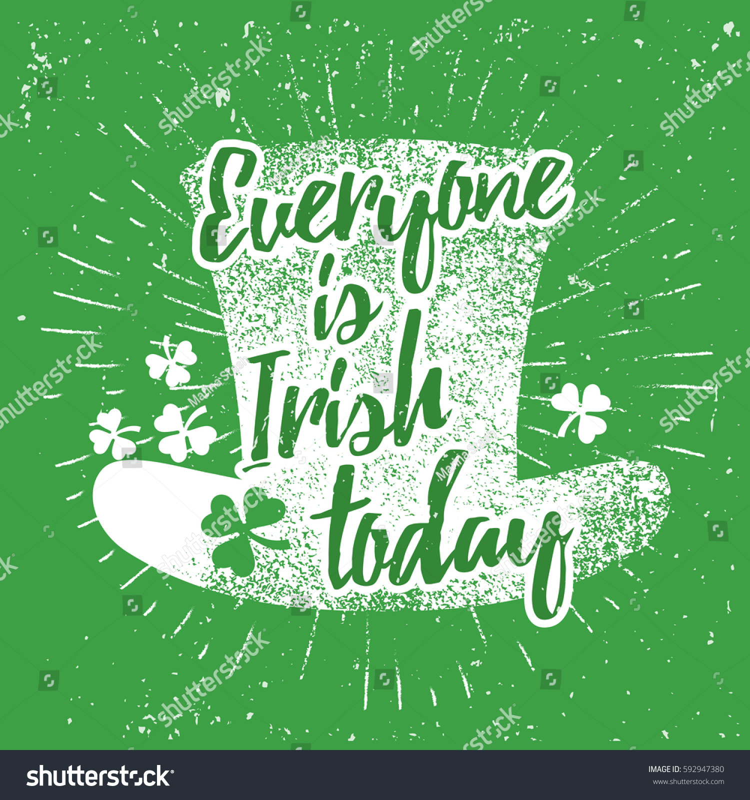 St patricks day quote typography lettering stock vector 592947380 st patricks day quote typography lettering greeting card template on a grunge texture green shape kristyandbryce Images