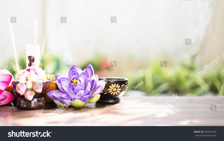 Spa Still Life Perfume Bottle Lotus Stock Photo Edit Now 592952303