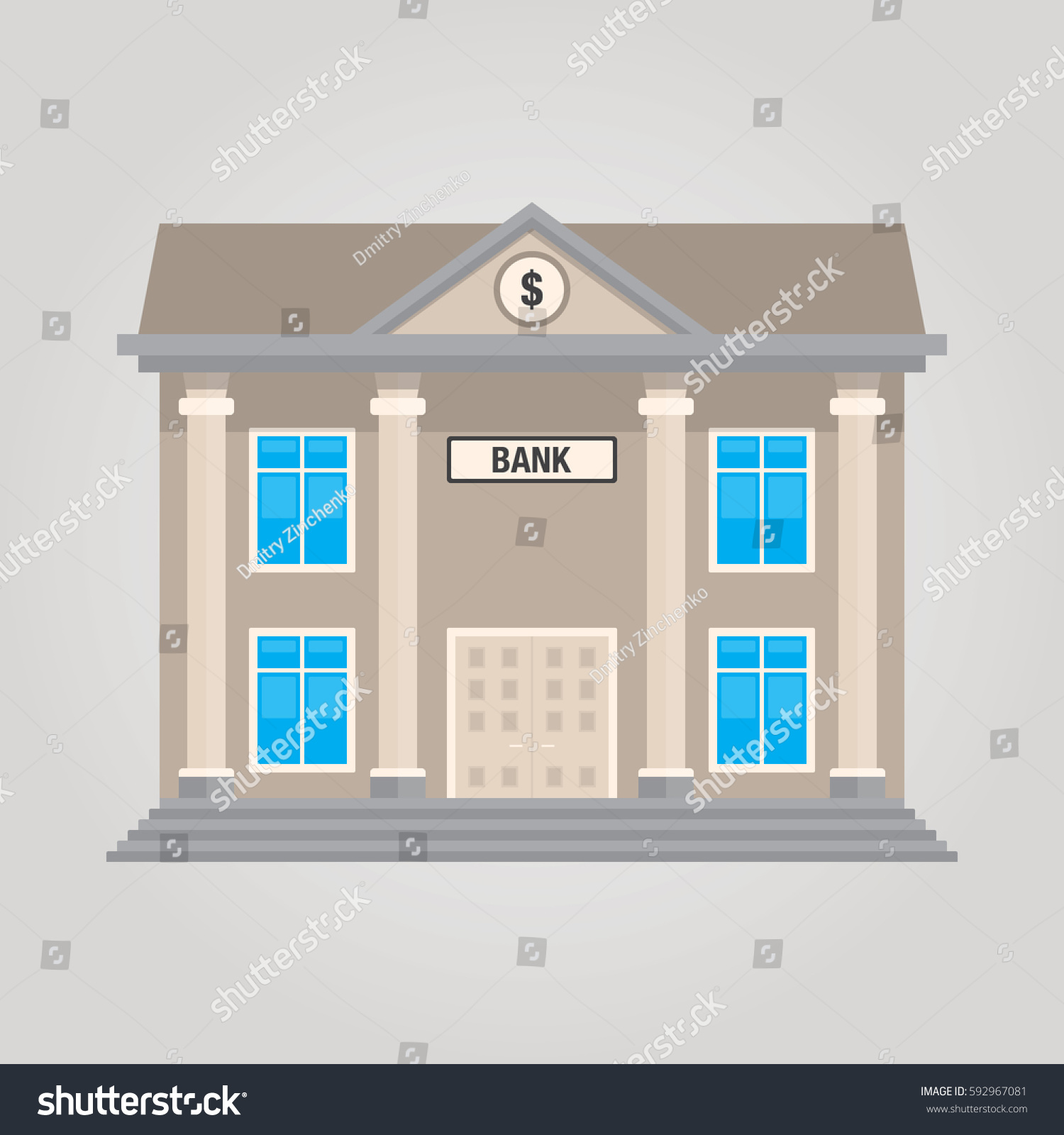 Bank Building Front Isolated Vector Illustration In Flat Design Style