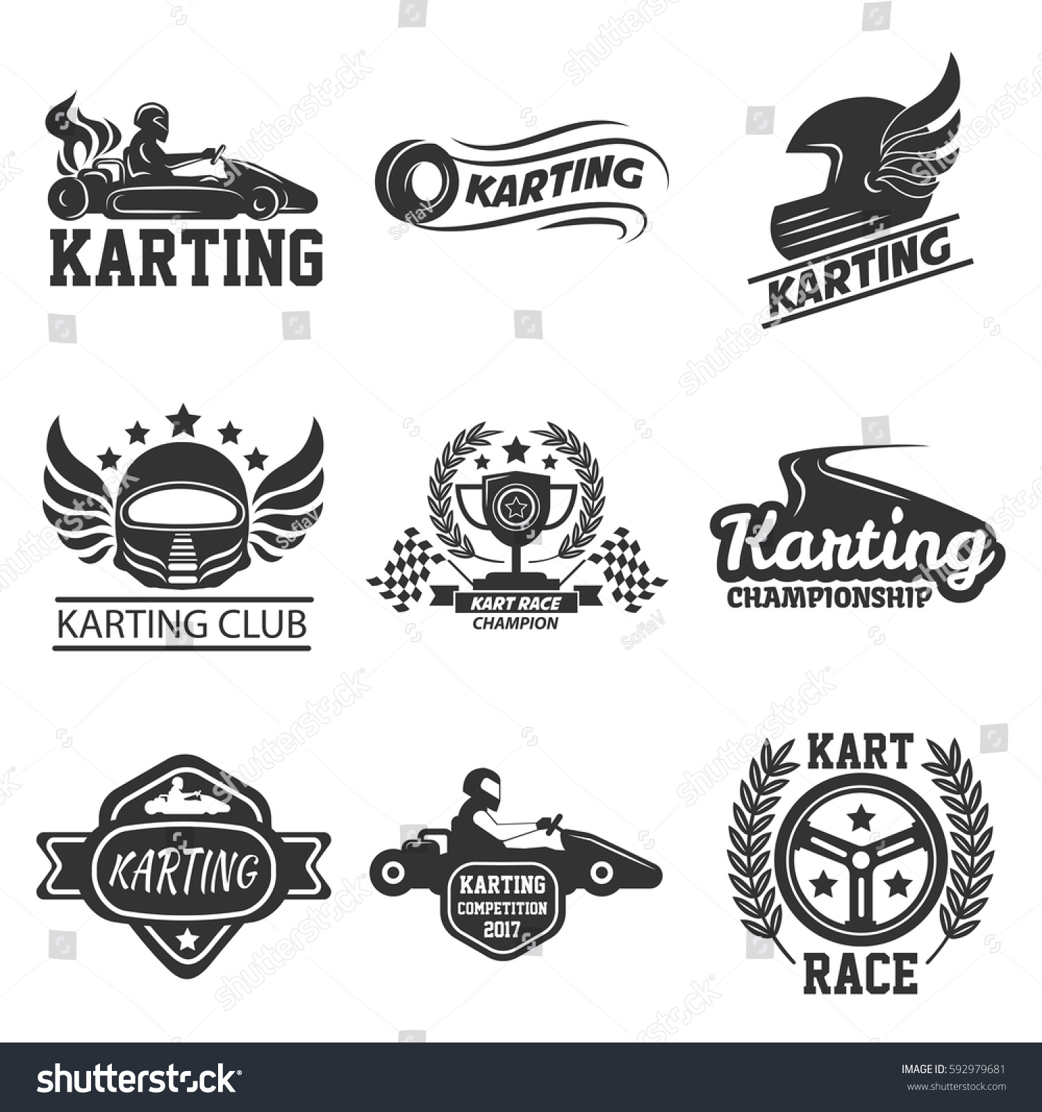 Karting Kart Races Club Tournament Logo Vector de stock592979681 ...