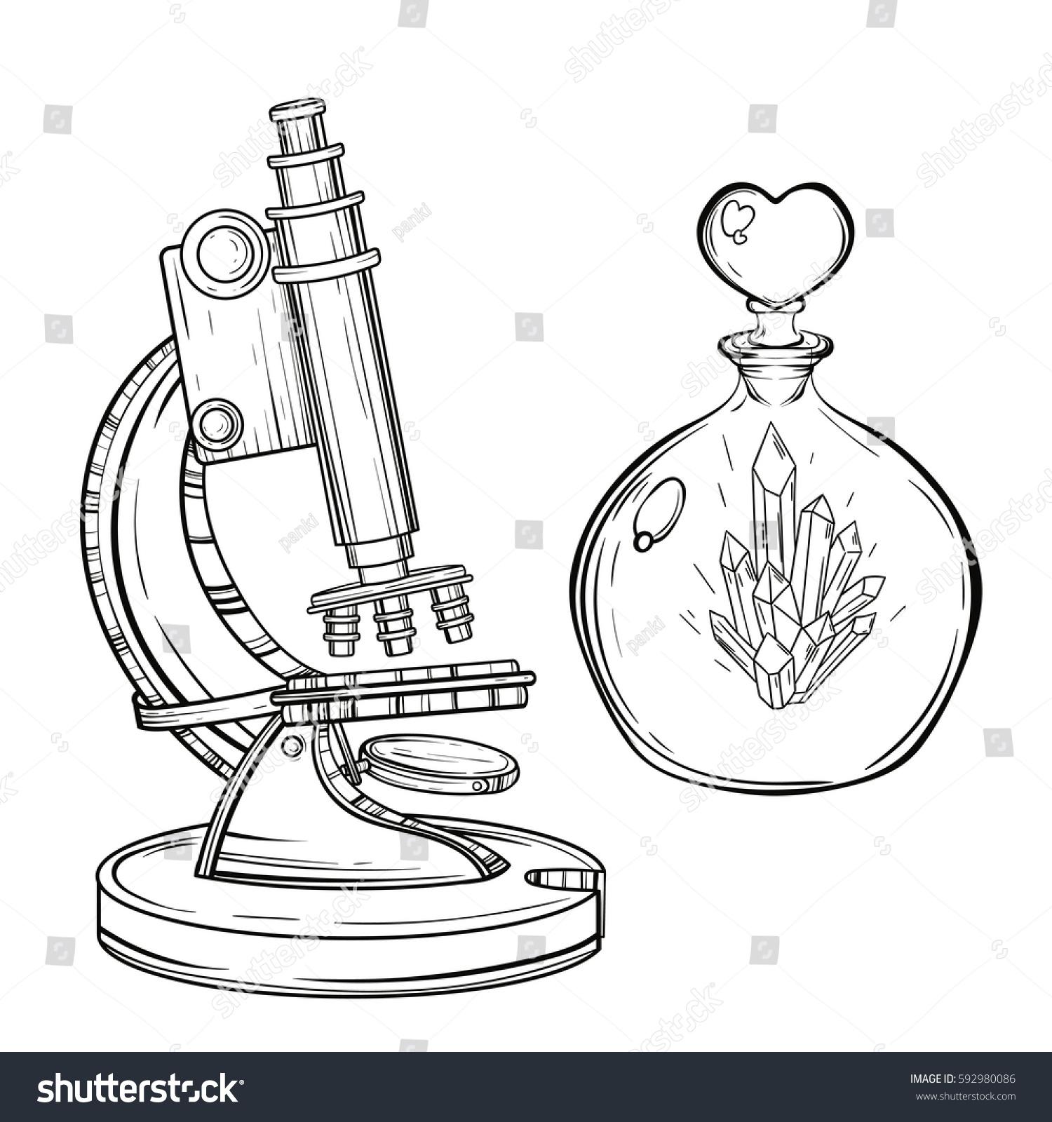 Vector Old Microscope Crystal Glass Bottle Stock Vector Royalty