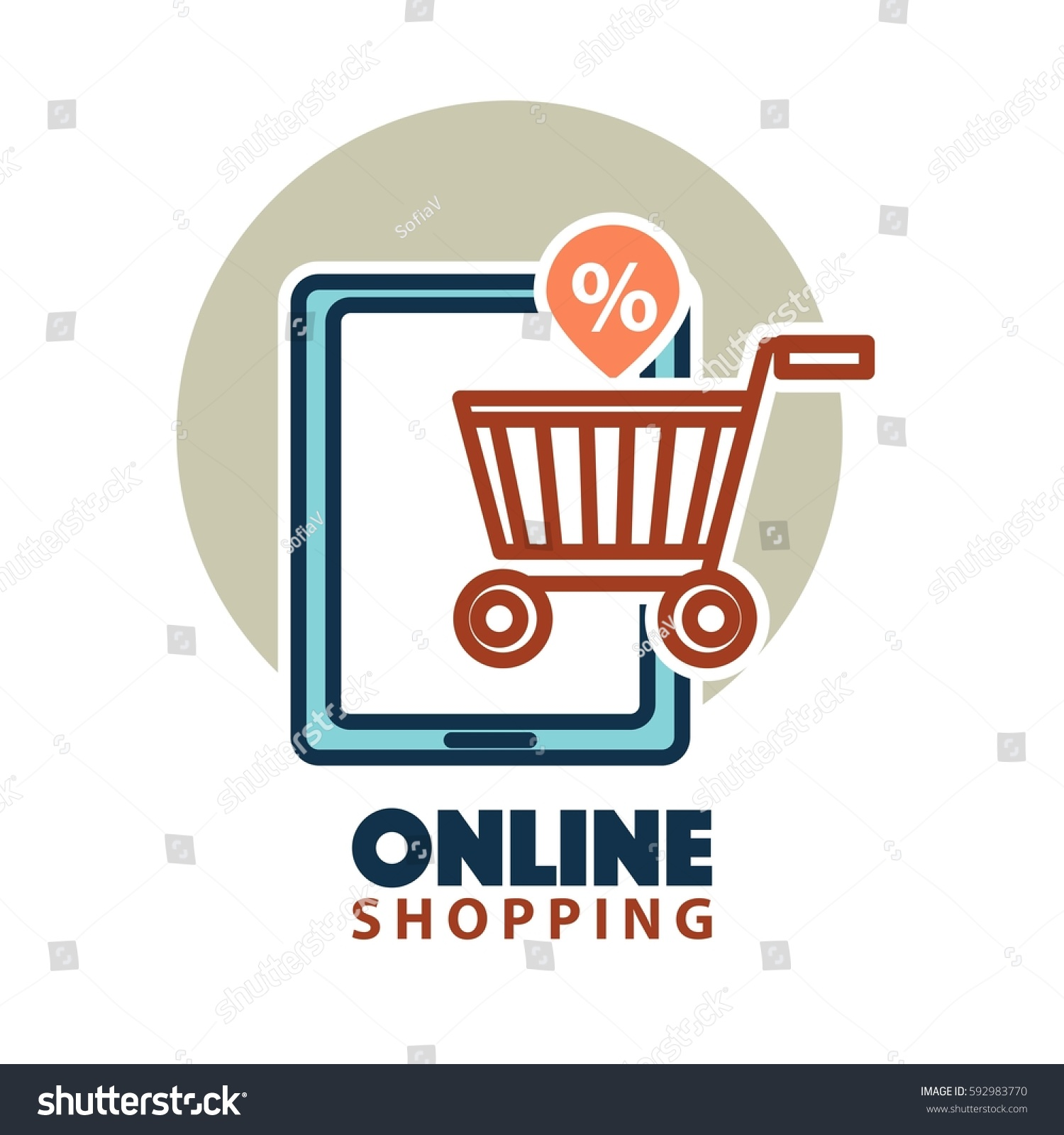 Online Shopping Logo Template Web Store Stock Vector Royalty Free