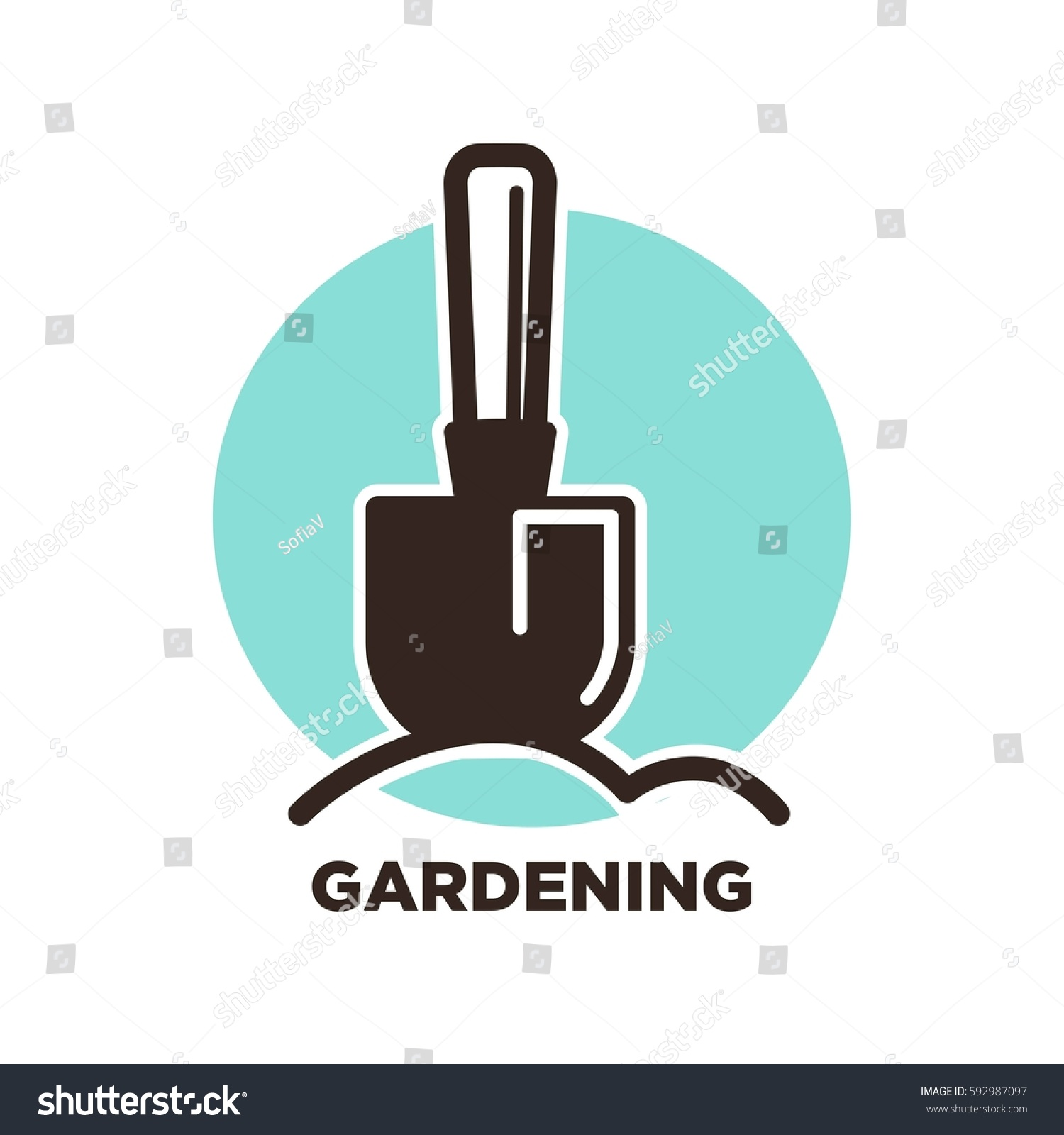 gardening logo design spade ground on stock vector