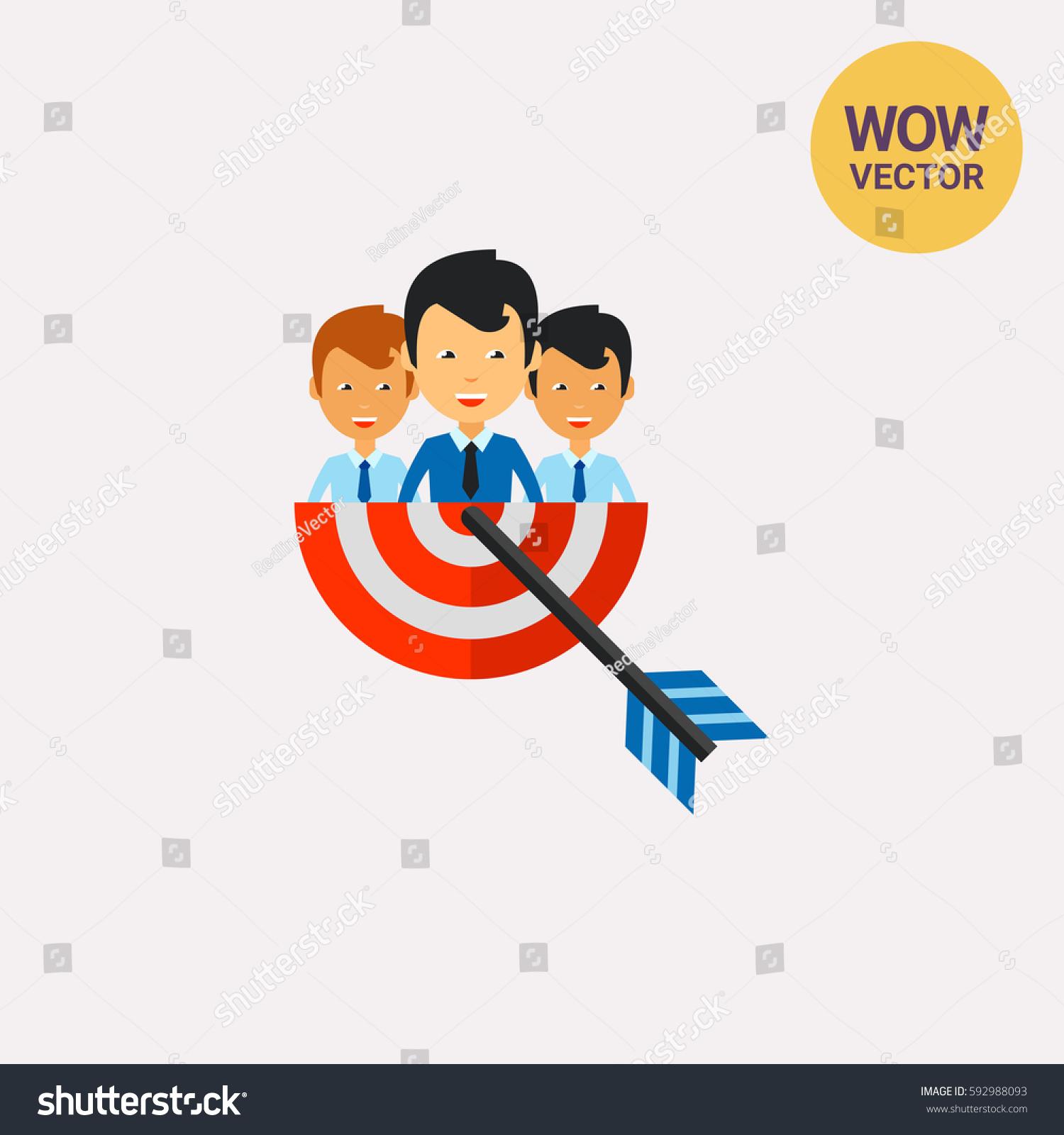 Businesspeople Target Arrow Icon 592988093