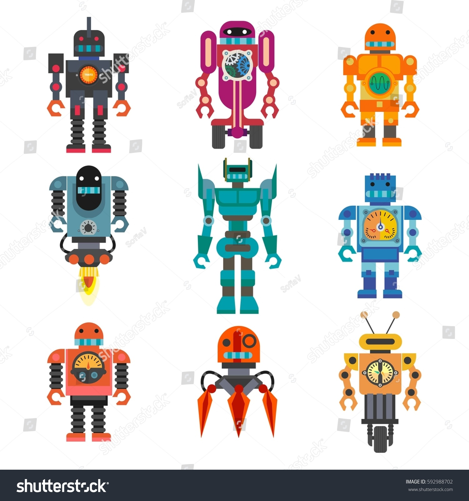 Cartoon Robot Toy : Robots transformer androids retro cartoon toys stock