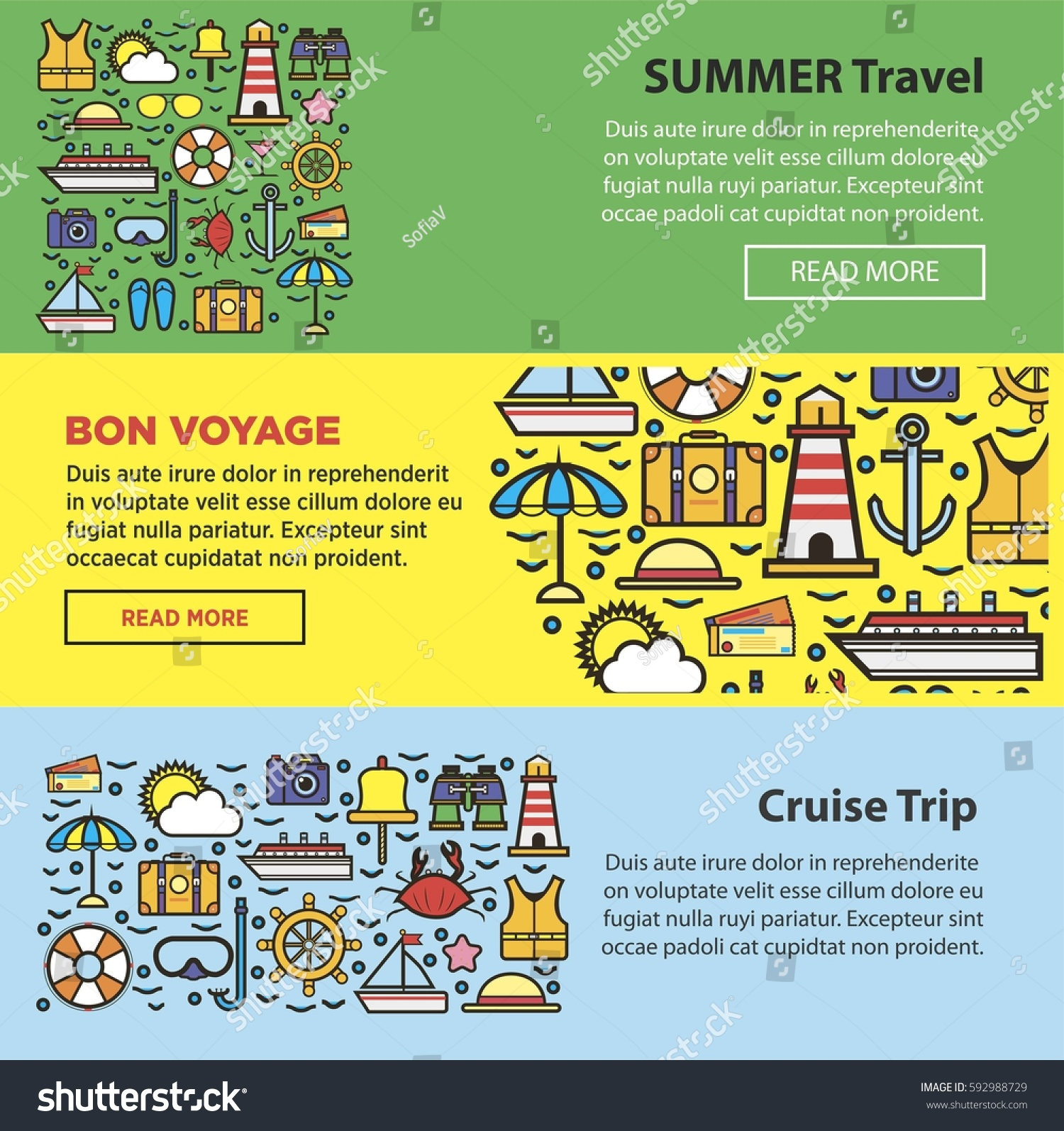 Summer Travel Sea Cruise And Holiday Beach Vacations Agency Or Company Web Banners Templates Set
