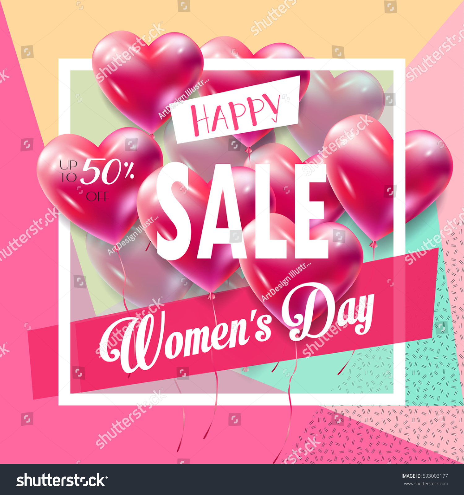 Sale Discount 8 March Happy Womens Stock Vector 593003177 ...