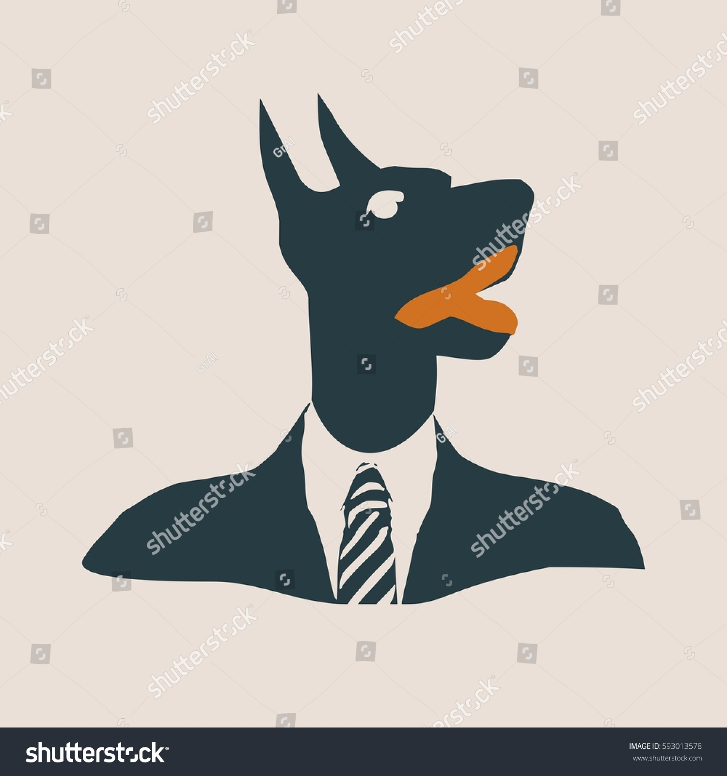 doberman dog dressed up in black suit silhouette of a dog head vector illustration