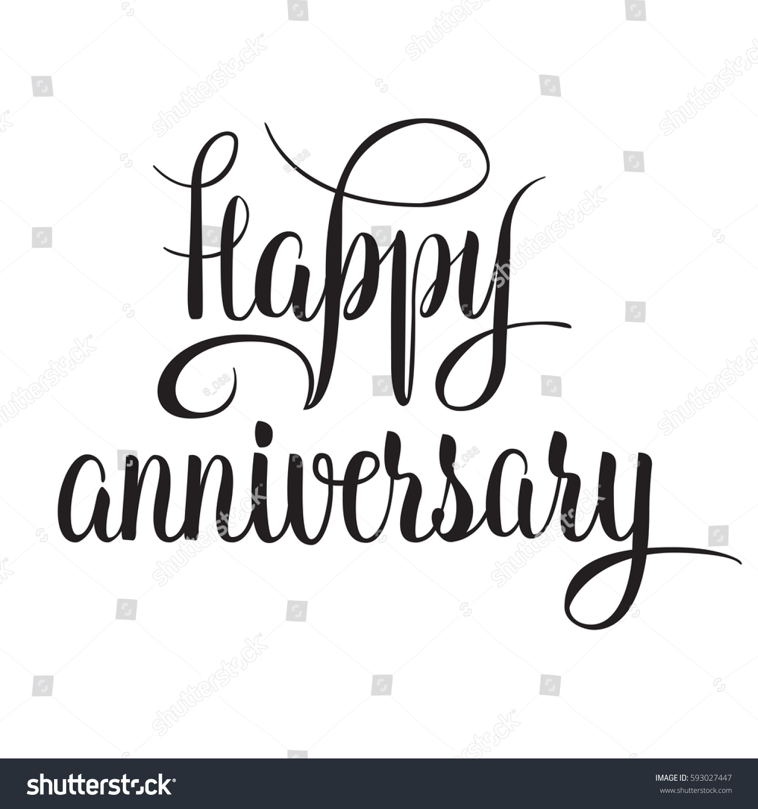 Black White Vector Lettering Happy Anniversary Stock