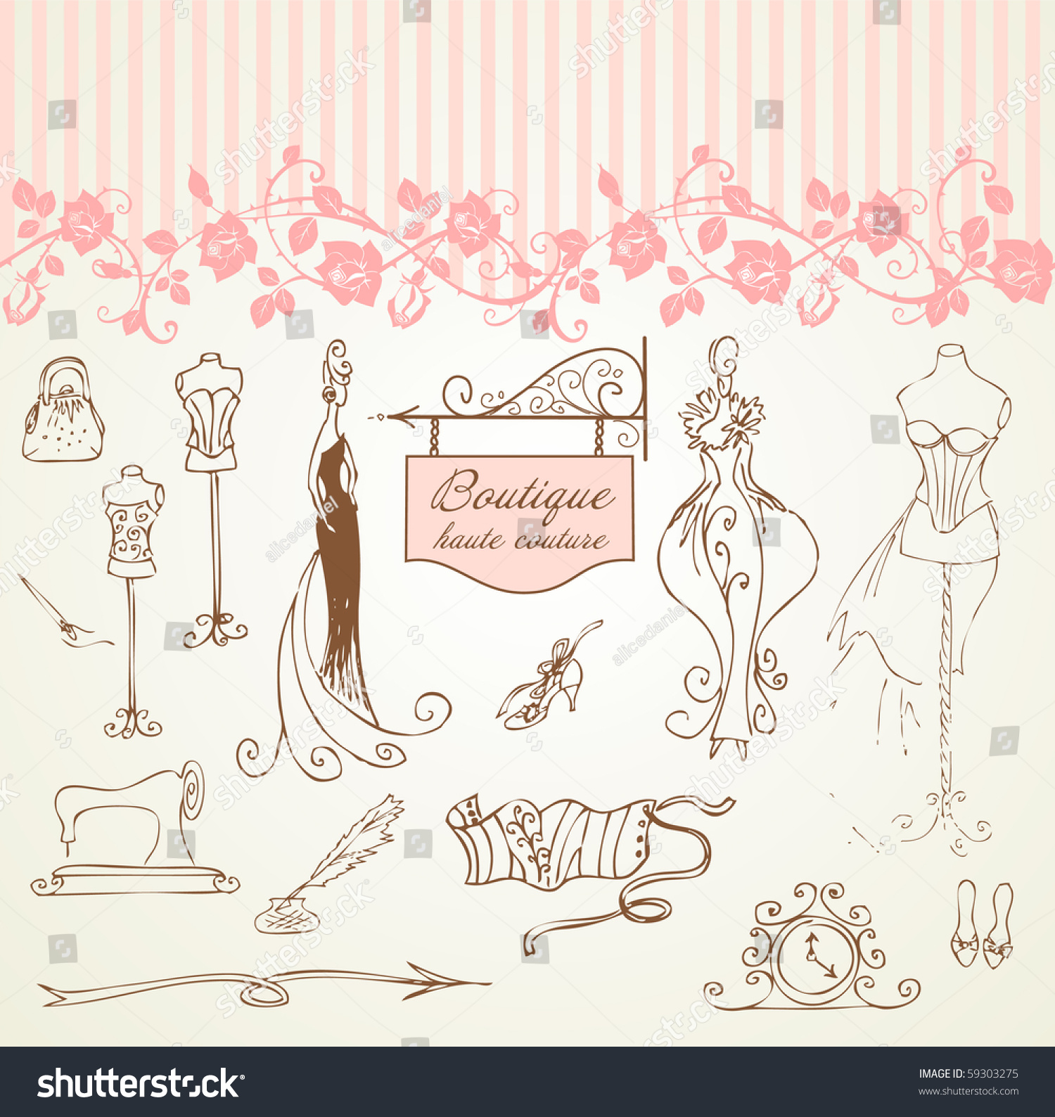 Boutique haute couture and dressmaking stock vector for Haute couture seamstress